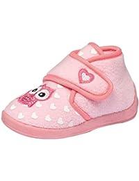 Mädchen Fleece Hausschuhe Klettschuhe Puschen Pantoffeln Slipper Schuhe mit Klettverschluss und fester Sohle Gr. 22–26 EULE rosa pink