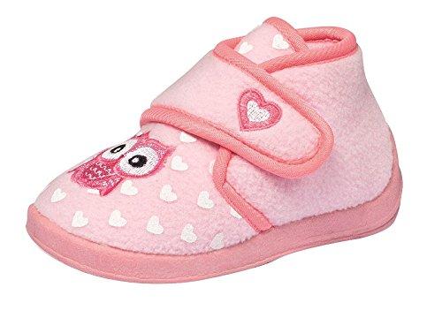 Mädchen Fleece Hausschuhe Klettschuhe Puschen Pantoffeln Slipper Schuhe mit Klettverschluss und Fester Sohle Gr. 25 Eule Rosa Pink