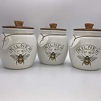 Set of 3 Kilner Push Fit Jars Tea Sugar Coffee Canisters