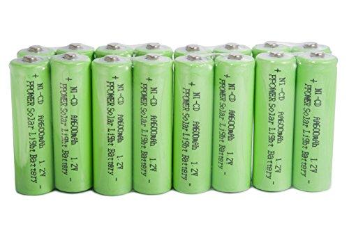 PPOWER 16 confezioni da luce solare AA Ni-Cd 600 mAh Batterie ricaricabili