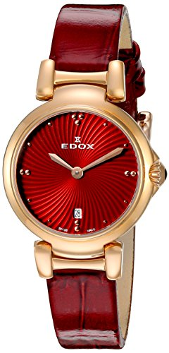 Edox Women's 57002 37RC ROUIR LaPassion Analog Display Swiss Quartz Red Watch
