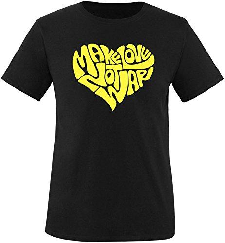 EZYshirt® Make love not war Herren Rundhals T-Shirt Schwarz/Gelb