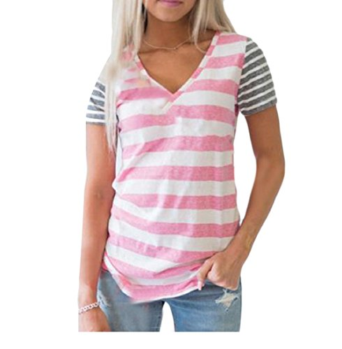 1a0e9744f3b Againg Women Skinny Stitching V Neck T Shirts Short Sleeve Stripe Blouse  Tops Pink S - Buy Online in Oman.