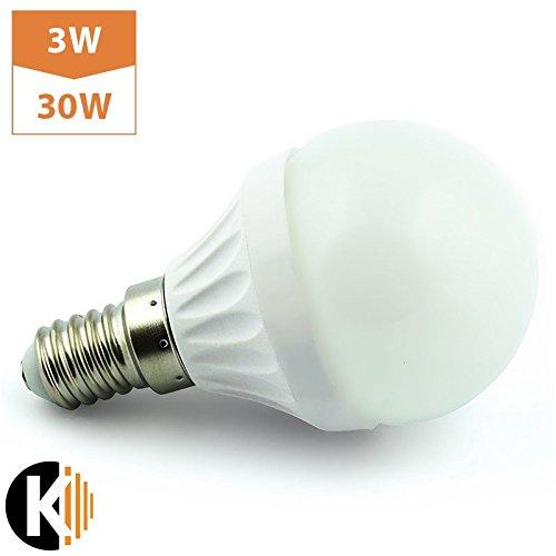 Kwazar Leuchte Leuchtmittel LED SMD Lampe 3W - 280lm (Ersetz 30W) E14 230V Warmweiss 180° Abstrahlwinkel KUGEL