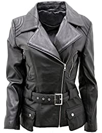 Ladies Black Long Feminine Leather Biker Jacket