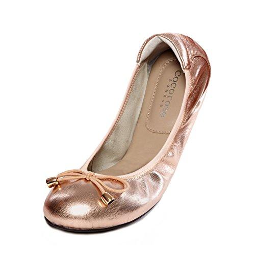 Cocorose London Scarpe Pieghevoli - Sandringham Scarpe da Ballet Donna Rosa Oro