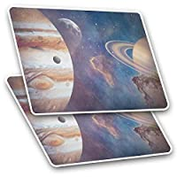 Awesome Rectangle Stickers(Set of 2) 7.5cm - Planets Jupiter Saturn Solar System Fun Decals for Laptops,Tablets,Luggage,Scrap Booking,Fridges,Cool Gift #16783