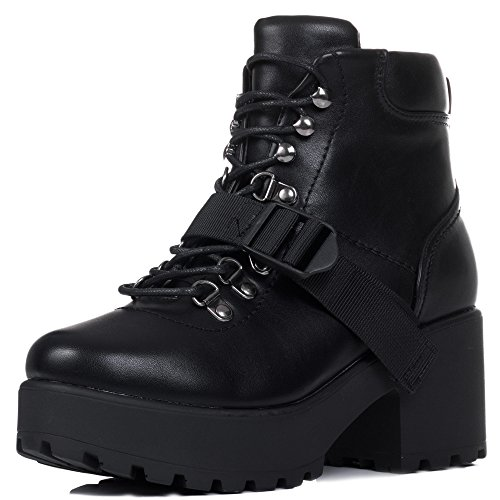 Lace Up Block Heel Ankle Boots Shoes Black Leather Style Sz 6 Lace Up Biker Boots