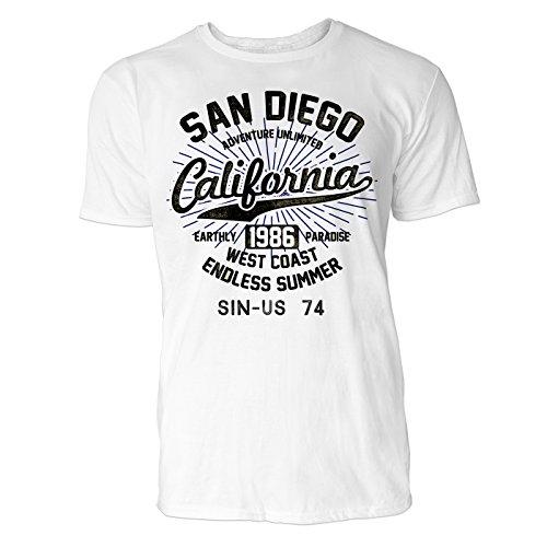 Herren T Shirt San Diego Kalifornien (Weiss) Freizeit/Sport / Club T-Shirt Crew Neck NOOS Original