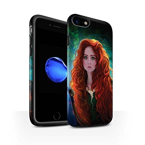 Officiel Elena Dudina Coque / Matte Robuste Antichoc Etui pour Apple iPhone 7 / Cheveux Dorés Design / Caractère Conte Fées Collection Princesse