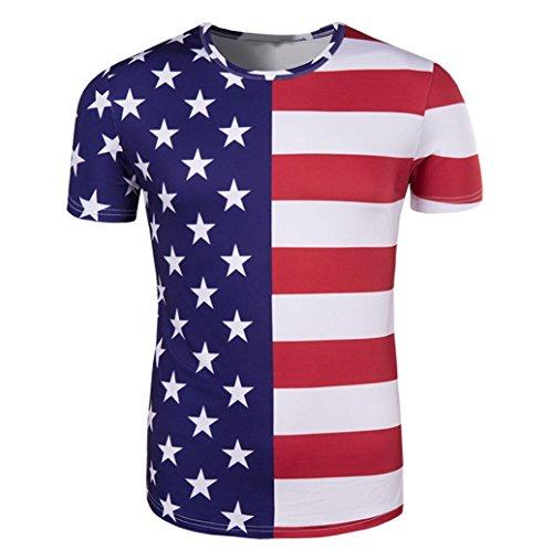 Herren Shirts,Frashing Männer American Stars Flag Kurzarm-Print Tank Top Shirt Sommer T-Shirt Amerikanisch Flagge Kurze Ärmel Bluse Shirt Top Casual Rundhalsschnitt Übergroß (L, Weiß)