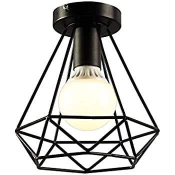 koonting retro industrielle plafonnier en m tal noir cage carr fer lustre suspension luminaire. Black Bedroom Furniture Sets. Home Design Ideas