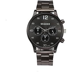 Rcool - Reloj deportivo para Hombres de Negocios, de lujo, para hombre, correa de cuero, analógico, de cuarzo (Negro)