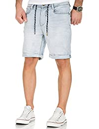Urban Surface Jogg Jeans Shorts kurze Hose Bermuda Herren Denim Sweatpants Joggjeans Vintage Used Look