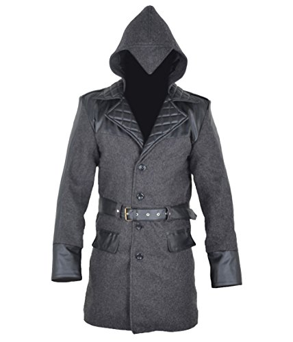 classyak Herren aassassins Qualität Joppe Creed Jacke – Mantel mit Kapuze Gr. Medium, Woollen Grey (Assassins Creed Leder Jacke)