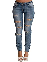 Women's Blue Heavy Ripped Gold Detail Casual Glam Skinny Jeans
