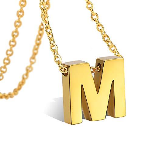 CheersLife Initiale Alphabet M Anhänger Edelstahl Halskette für Damen, vergoldet 18K, Halskette mit Buchstaben in Gold Initiale Kette 45+5CM