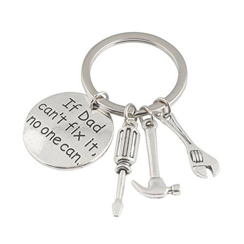 BESTOMZ Vatertag Geschenke, wenn Papa kann es nicht reparieren niemand kann Schraubenschlüssel Hammer Keychain Herren Schlüsselanhänger Metall Schlüsselanhänger Neuheit Geburtstagsgeschenk für Papa