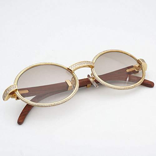 LKVNHP Diamant Sonnenbrille Metall Sonnenbrille Retro Holz Shades Männer Sonnenbrille Für Mode Runde Männer Stein Brillengestell Brillen