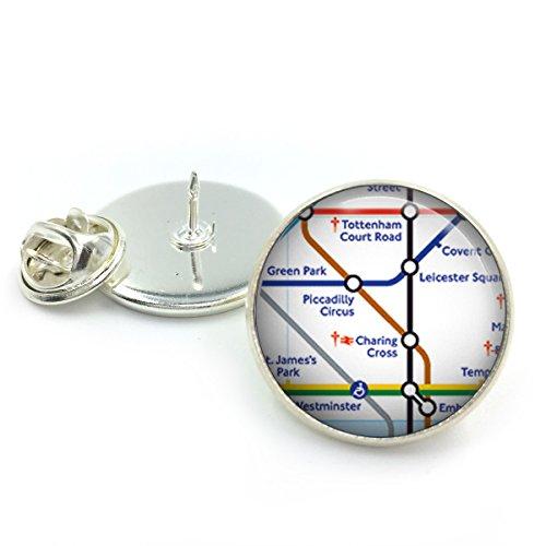 Butterfly N Beez Versilbert London Piccadilly Circus Anstecknadel Abzeichen| Krawattennadel| London U-Bahn| U-Bahnstation| Rohr| Geschenk für ihn| London Karte| Karte von London| Bahnhof -