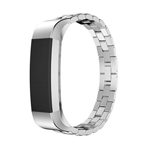 Cebbay Luxe Bracelet en métal Band réglable en acier inoxydable Sangle pour Fitbit Alta HR S Silver