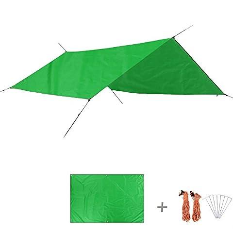 Triwonder multifonctions extérieur étanche Pare-soleil Tente de camping Tarp Tapis de sol pour tente de plage Couverture de pique-nique Tapis de pluie Fly pour hamac, Light Green+Accessories, L - 98.4 x 86.6in