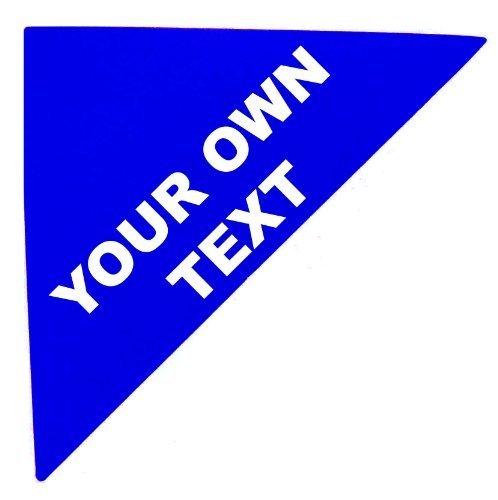 Viviendas en etiquetas, Estampado Con Tu Propio Texto, azul, grande TRIÁNGULO 97x69x69mm ( LADOS ) , propiedad & Deja Agente Personalizado Pegatinas autoadhesivas