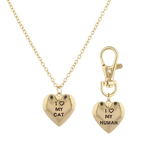 LUX Zubehör Gold Ton Love My Cat I Love My Echthaar Halskette Schlüsselanhänger Set 2pc