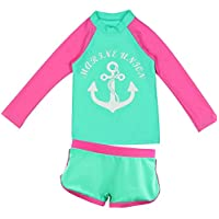 Kid Girl's Boy's Two-Piece Long Sleeve Swimsuits Bathing Suit,Toddler Kids Sun Protection UPF50+ Rash Guard (Green, S/1-2Years)
