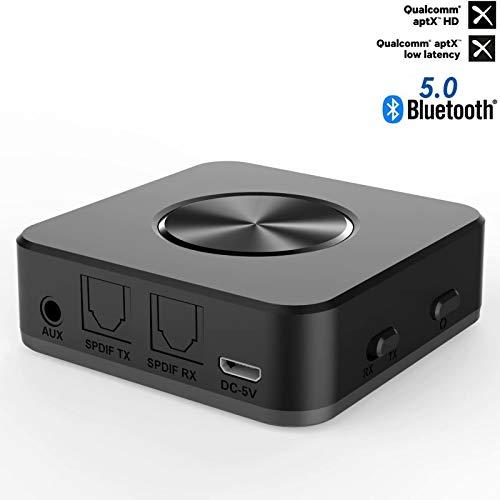 YEHUA Transmisor Receptor Bluetooth 5.0 Inal/ámbrico 2 en 1 Audio 22H AptX Baja latencia en Modo TX Adaptador /Óptica Digital TOSLINK RCA Jack 3,5mm Emparejamiento Doble para Auriculares Coche y TV