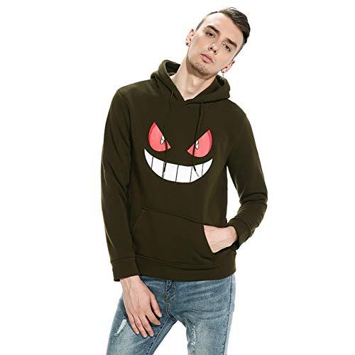 Showu Herren Kapuzenpullover Hoodie Pullover mit Kapuze Halloween Teufel Kürbis Gesicht Drucken (Teufel Armee Grün, XXL)