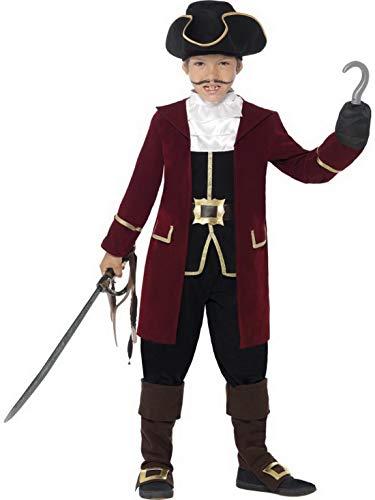 Kinder Piraten Kapitän Kostüm Deluxe mit Jacket, Weste, Hose, Halstuch und Hut, perfekt für Karneval, Fasching und Fastnacht, 140-152, Rot ()