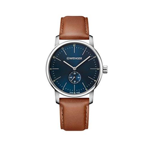 Wenger Herren Analog Quarz Uhr mit Leder Armband 01.1741.103