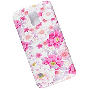 Samsung Galaxy S5 Protective Slim Case. Tasche Cover. Pink Flowers.