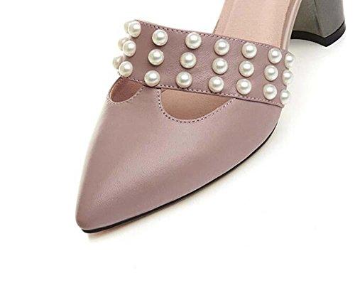 Onfly Signora di moda Punta punta Pelle di pecora Tacchi alti Sandali Semplice Perla Cavo Cinturino alla caviglia Cintura Buckel Tribunale Scarpe apricot