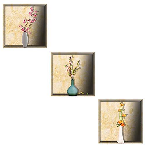 VORCOOL 30x30cm Mode Étanche Fleur DIY Amovible Decal Art Mural 3D Simulation Bouteilles Stickers Muraux Maison Salon Chambre Décoration (BG-006)