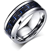 Vnox Fibra 8 millimetri carburo di tungsteno Blue Carbon dell'intarsio di nozze Anello di fidanzamento banda di Uomini,argento