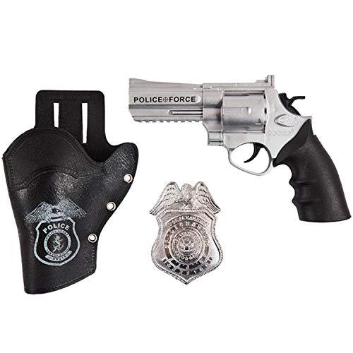 Mottoland Polizei Set 3-tlg. Pistole Halfter Abzeichen Kostüm-Zubehör Polizist Fasching Karneval