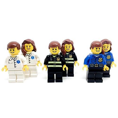 LEGO-6-Emergency-Minifigure-Workers-Police-Cop-Fire-and-Doctor-Set-Kit