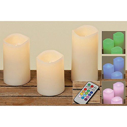 Sunflower-Design Echtwachs LED-Kerzen mit Farbwechsel Set 3 tlg. Set Sunflower-design