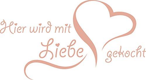 Graz Design Wandtattoo Spruch Hier wird mit Liebe gekocht für Küchen-Wand | Küchen-Sprüche für Küchenrückwand | Wandsticker aus Markenfolie - auch für Esszimmer | in 47 Farben (55x30cm // 958 baby doll)