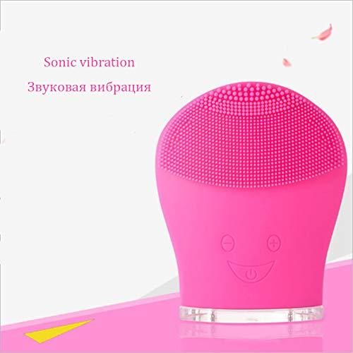 Silicone électrique instrument de nettoyage ultrasonique nettoyage du visage beauté charge instrument lavage brosse de nettoyage du visage brosse, Rose Rouge