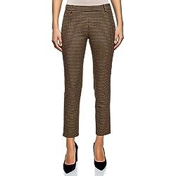 oodji Ultra Mujer Pantalones Ajustados con Cremallera en el Lateral, Beige, ES 36 / XS