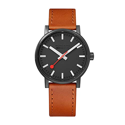 Mondaine Men's Evo2 Black/Brown Leather Strap Watch MSE.40120.LG