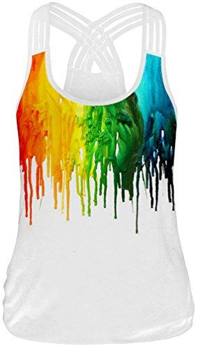 TDOLAH Débardeur Femme grossesse et maternité Tops Imprimé Chic Gilet Vest T-shirt Sexy Sport sans Manches Haut Été Grande Taille Peinture-3