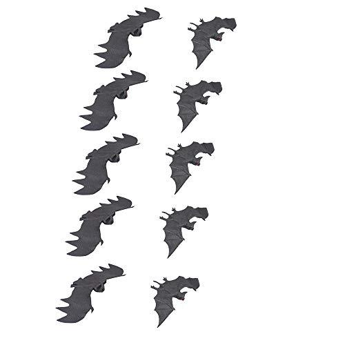 Alxcio 10Pcs Fledermäuse ALS Halloween Gespenstische Hängende Fledermäuse, Gummi Spielzeug Gefälschte Realistische Trick für Halloween Partei Deko Dekoration