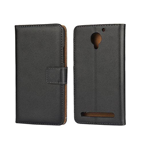 Copmob Lenovo C2 Hüllen Handyhülle Lenovo C2 Handy Hülle Lenovo C2, [Premium Leder] [Standfunktion] [Kartenfach] [Magnetverschluss] Schlanke Leder Brieftasche für Lenovo C2 Schwarz