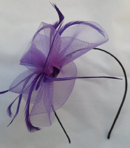 elegant-coiled-net-feather-fascinator-on-narrow-alice-head-band-purple-ref-4000-by-fascinator
