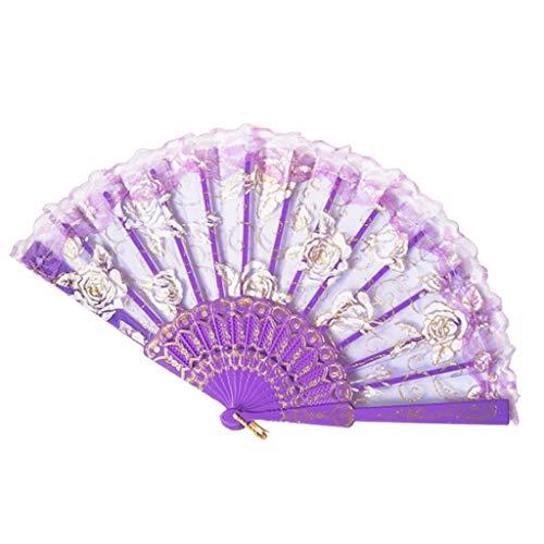 Kviklo Handfächer Folding Mesh Fächer Blume Kunststoff Stoff Kostüm Party Hochzeit Chinesisch/Japanisch Fan Dekorationen(Violett,23cm) (Drachen Geisha Kostüm)