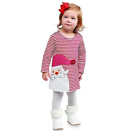 OYSOHE Baby Mädchen Weihnachten Outfits, Kleinkind Kinder Weihnachten Hirsch Gestreiften Prinzessin Kleid Oansatz Langarm Kleid Baumwolle A-Line Kleid (120, YA-Rot)